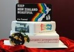 The cake to celebrate the launch of PNZB decorated by the Waitakere City Cake Decorators